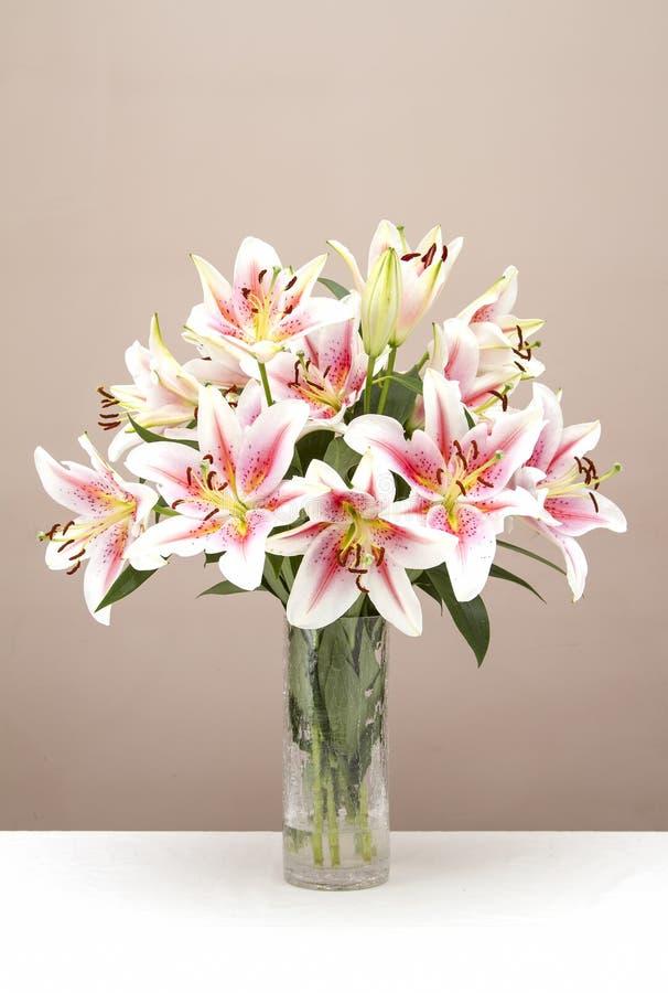 Boeket van roze lelies stock foto's