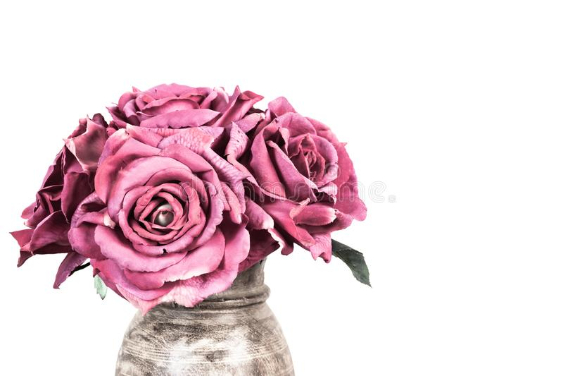 Boeket van roze rozen in vaas op witte achtergrond royalty-vrije stock foto