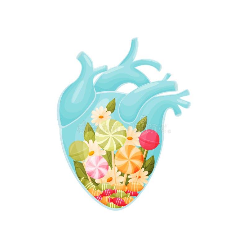 Boeket van suikergoed, lolly, bloemen en bladeren binnen het hart Vector illustratie op witte achtergrond royalty-vrije illustratie