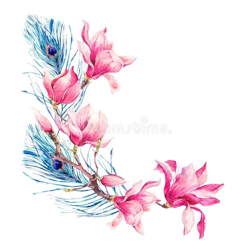 Boeket van waterverf het Uitstekende Bloemen van Magnolia royalty-vrije illustratie