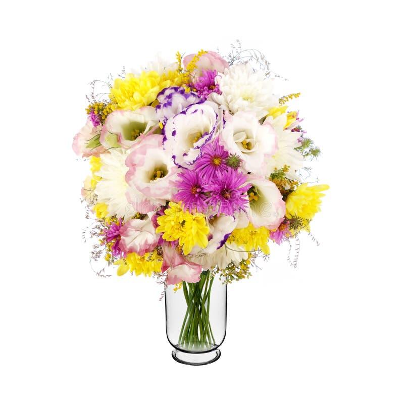 Boeket van wilde bloemen in vaas stock foto