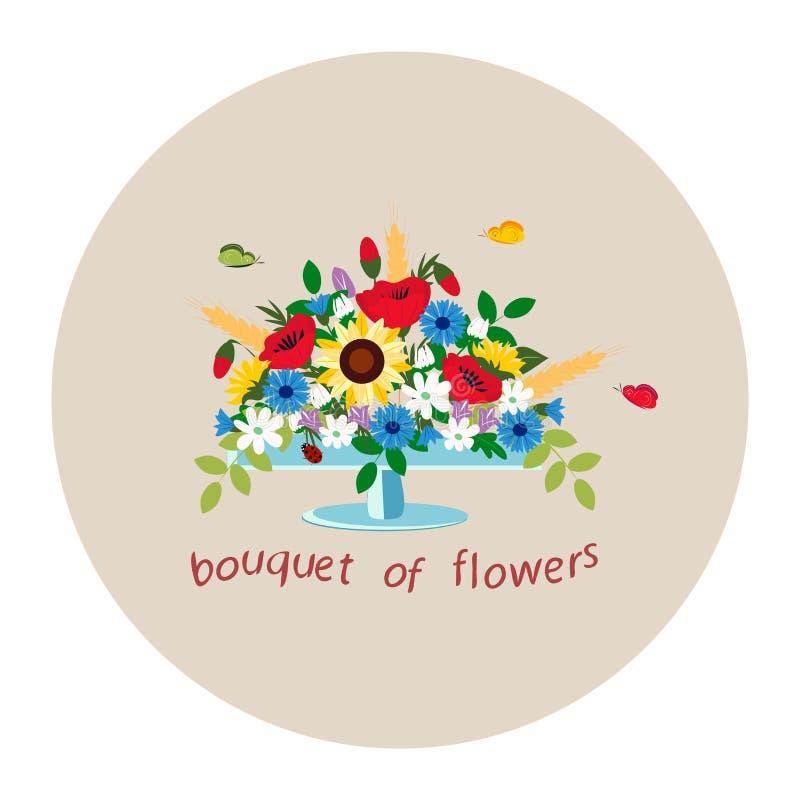 Boeket van wildflowers in een vaas stock illustratie