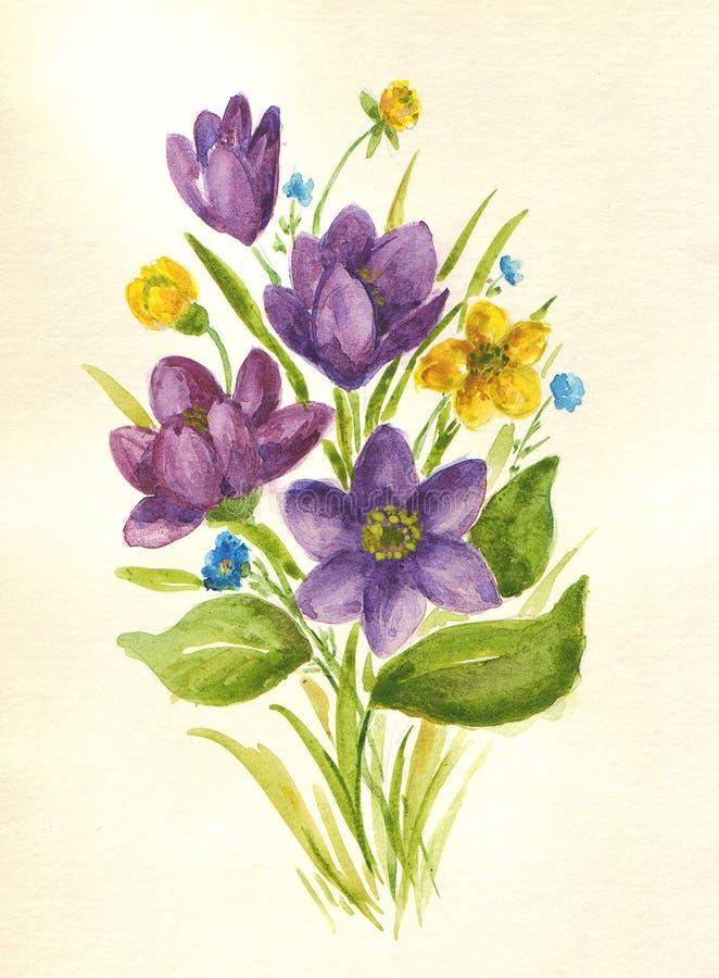 Boeket van wildflowers van de de lentewaterverf vector illustratie