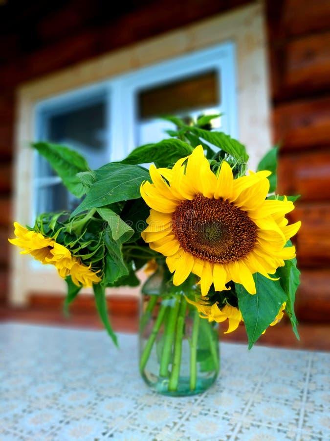 Boeket van zonnebloemen in een glasvaas op de lijst royalty-vrije stock fotografie
