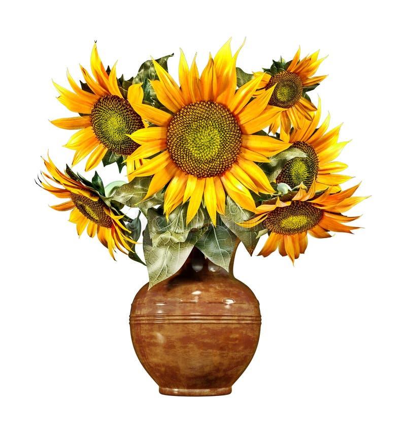 Boeket van zonnebloemen in een oude ceramische vaas, dat op wit, de zomerdecoratie, plattelandsstijl wordt geïsoleerd stock foto