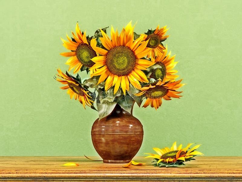Boeket van zonnebloemen in een oude ceramische vaas, de zomerdecoratie stock afbeelding