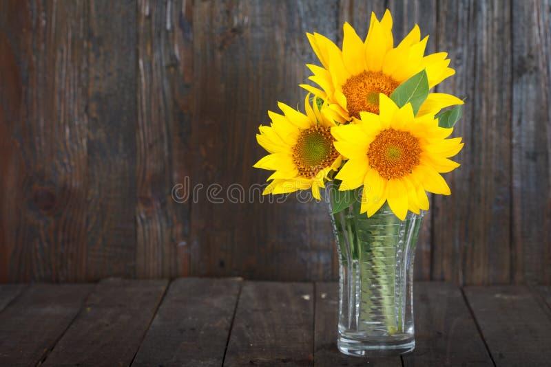 Boeket van zonnebloemen in glasvaas royalty-vrije stock fotografie