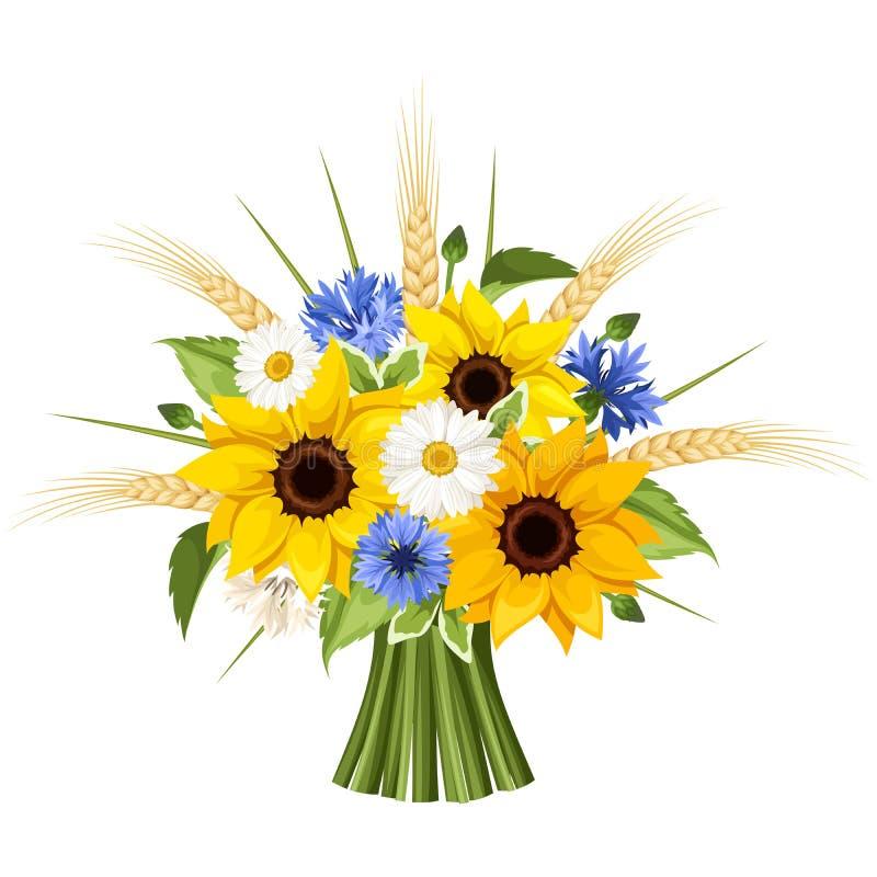 Boeket van zonnebloemen, madeliefjes, korenbloemen en oren van tarwe Vector illustratie royalty-vrije illustratie