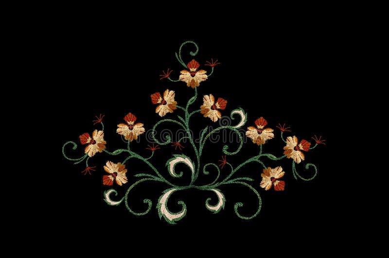 Boeket voor borduurwerk van oranje gestileerde bloemen met gekrulde bladeren op een zwarte achtergrond stock illustratie