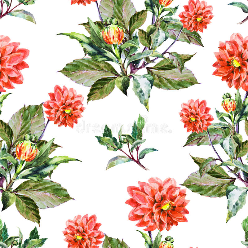 Boeketbloemen, rode dahlia, waterverf, naadloos patroon vector illustratie