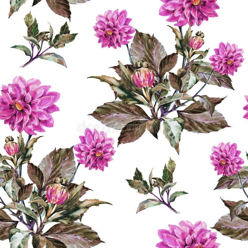 Boeketbloemen, violette dahlia, waterverf, naadloos patroon stock illustratie