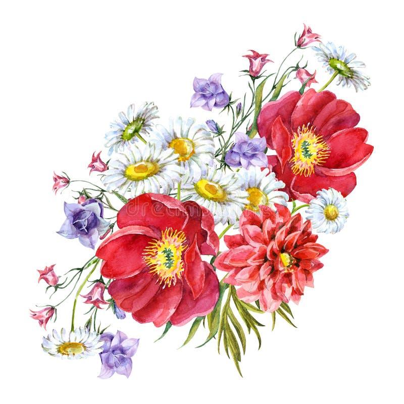 Boeketbloemen, witte achtergrond, waterverf, patroon vector illustratie