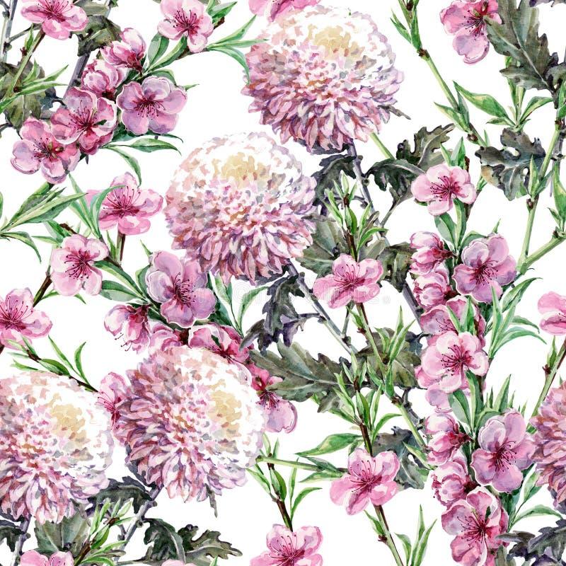 Boeketchrysant, perzikbloemen, waterverf, naadloos patroon stock illustratie