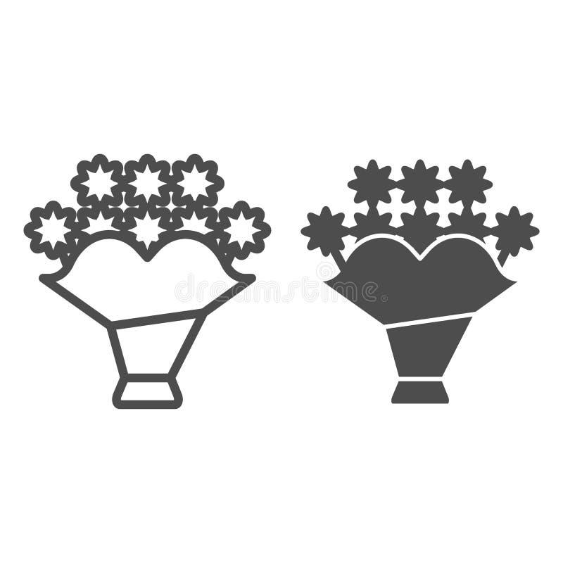 Boeketlijn en glyph pictogram Bloem vectordieillustratie op wit wordt geïsoleerd Het bloemendieontwerp van de overzichtsstijl, vo royalty-vrije illustratie