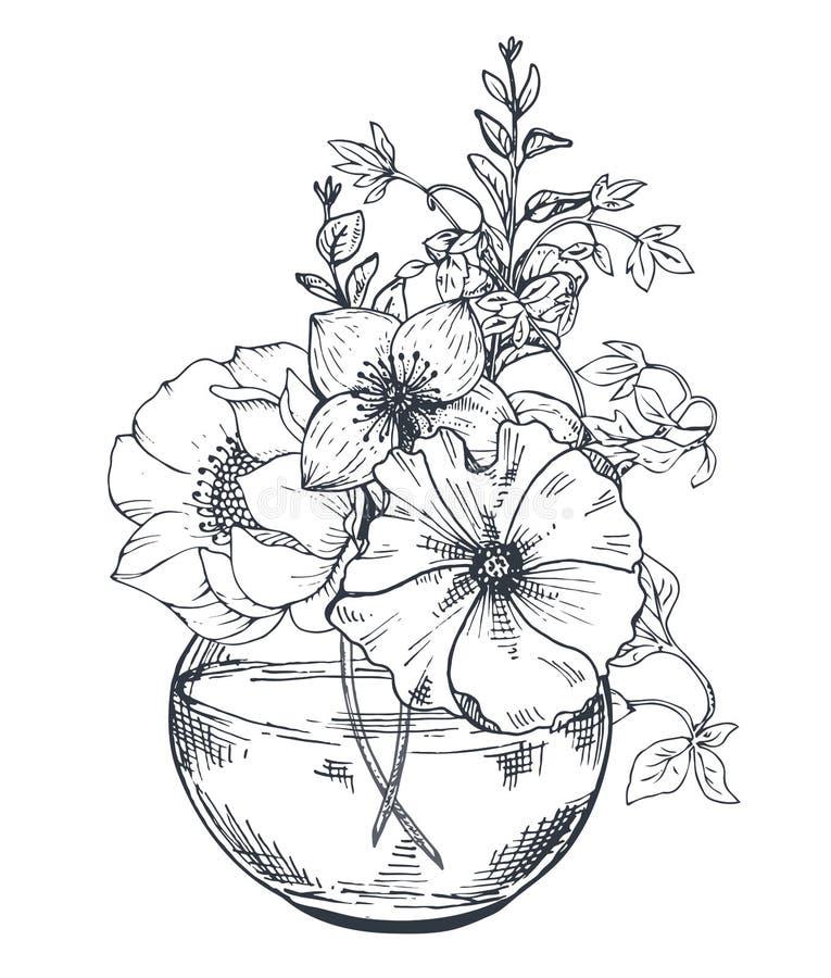 Boeketten met hand getrokken bloemen en installaties in de kruik stock illustratie