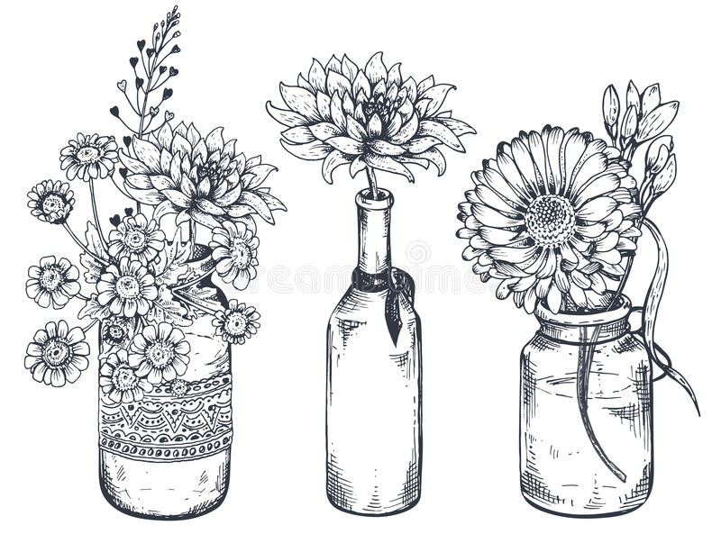 Boeketten met hand getrokken bloemen en installaties in vazenkruiken stock illustratie