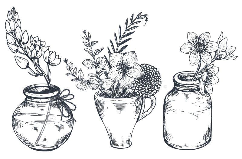 Boeketten met hand getrokken bloemen en installaties in vazenkruiken royalty-vrije illustratie