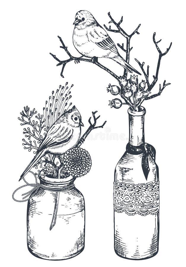 Boeketten met hand getrokken bloemen, installaties, vogels in vazen en kruiken stock illustratie