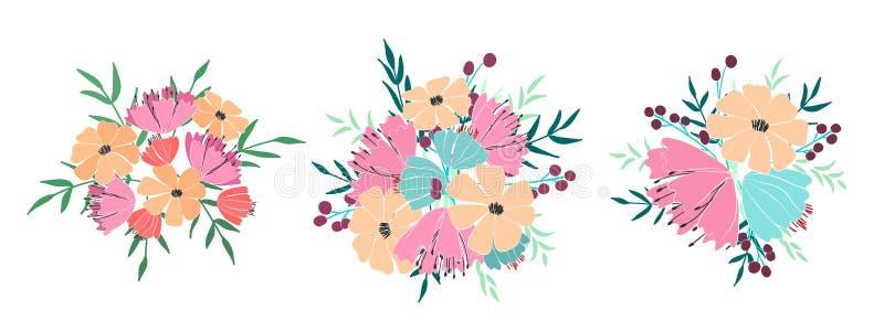 Boeketten van bloemen, bessen, bladeren en takjes van fantasieinstallaties Vector vector illustratie