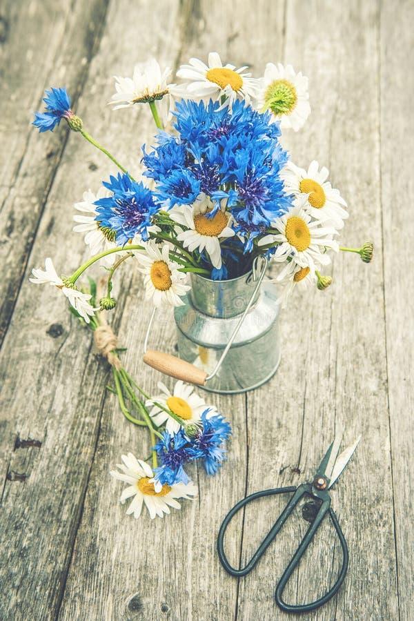 Boeketten van mooie wilde bloemen van madeliefjes en korenbloemen op een houten oude achtergrond De ruimte van het exemplaar royalty-vrije stock afbeeldingen