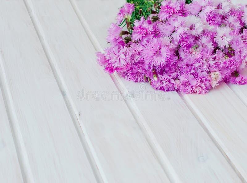 Boekettuin cornflowersop een witte houten achtergrond royalty-vrije stock fotografie