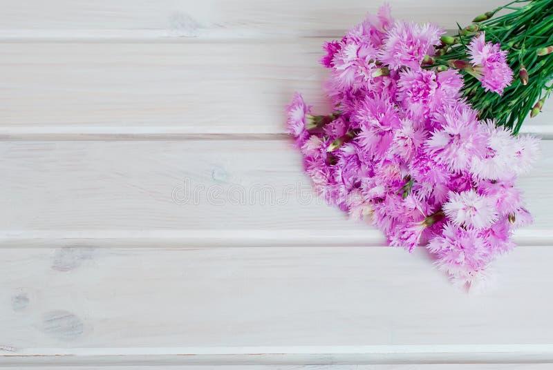 Boekettuin cornflowersop een witte houten achtergrond royalty-vrije stock afbeeldingen