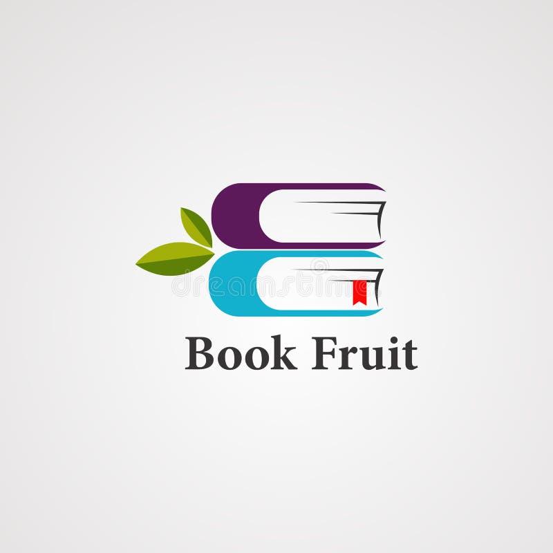 Boekfruit met de organische vector, het pictogram, het element, en het malplaatje van het bladembleem voor bedrijf royalty-vrije illustratie