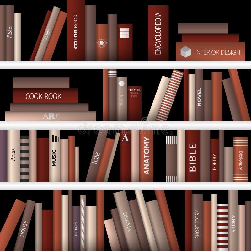 Boekhandel binnen Realistische vectorillustratie stock afbeelding