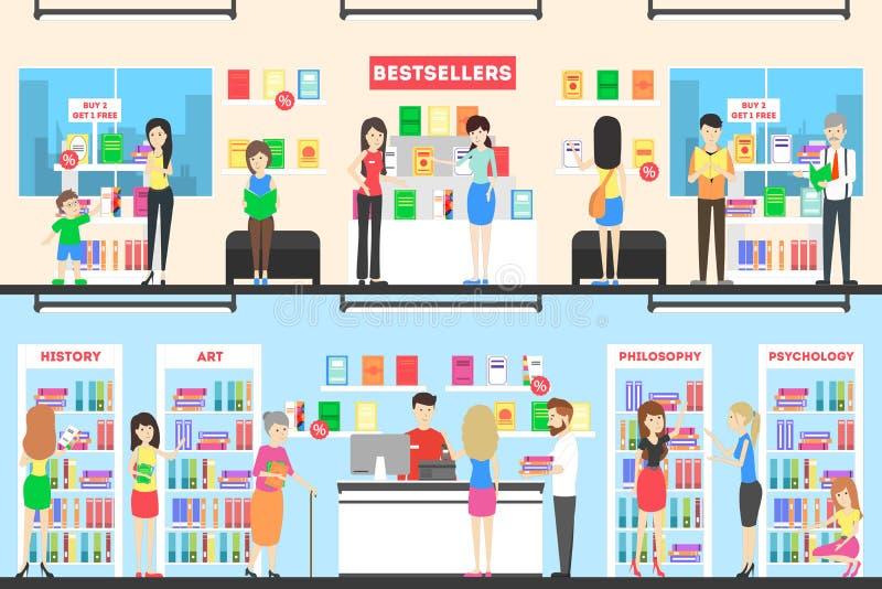 Boekhandel binnenlandse reeks vector illustratie