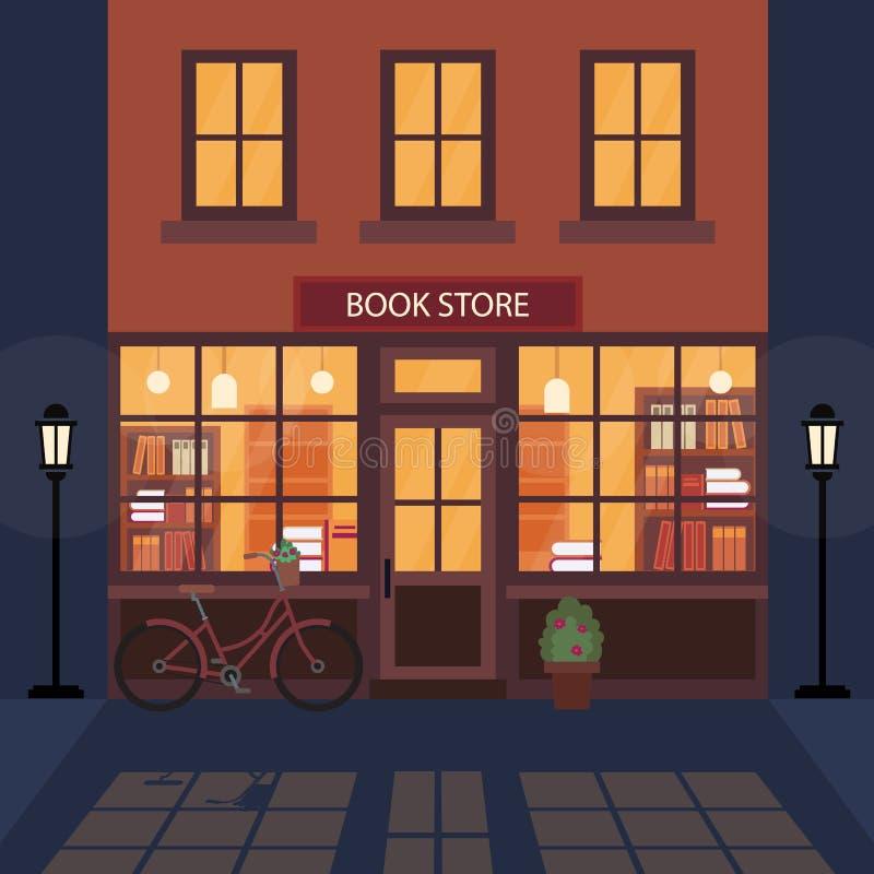 Boekhandel, facade voor de bouw van boekhandels Veel boeken op de rekken Mooie fiets in de buurt van het gebouw Literatuurwinkel stock illustratie