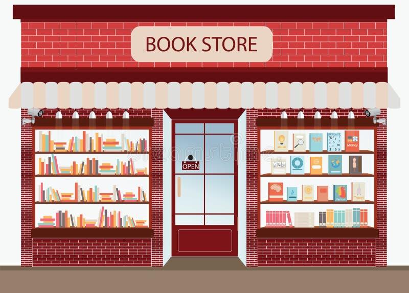 Boekhandel met boekenrekken stock foto