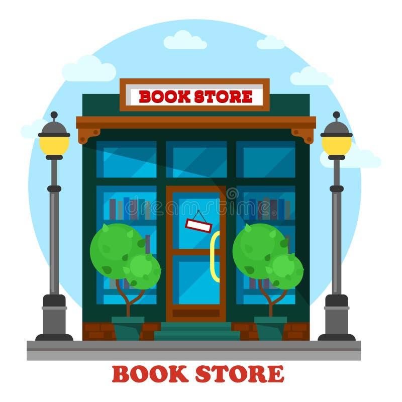 Boekhandel of winkel voor document die openluchtmening lezen vector illustratie