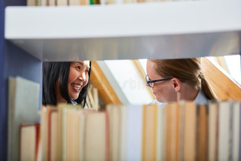 Boekhandelaar in overleg met een lezer stock foto's