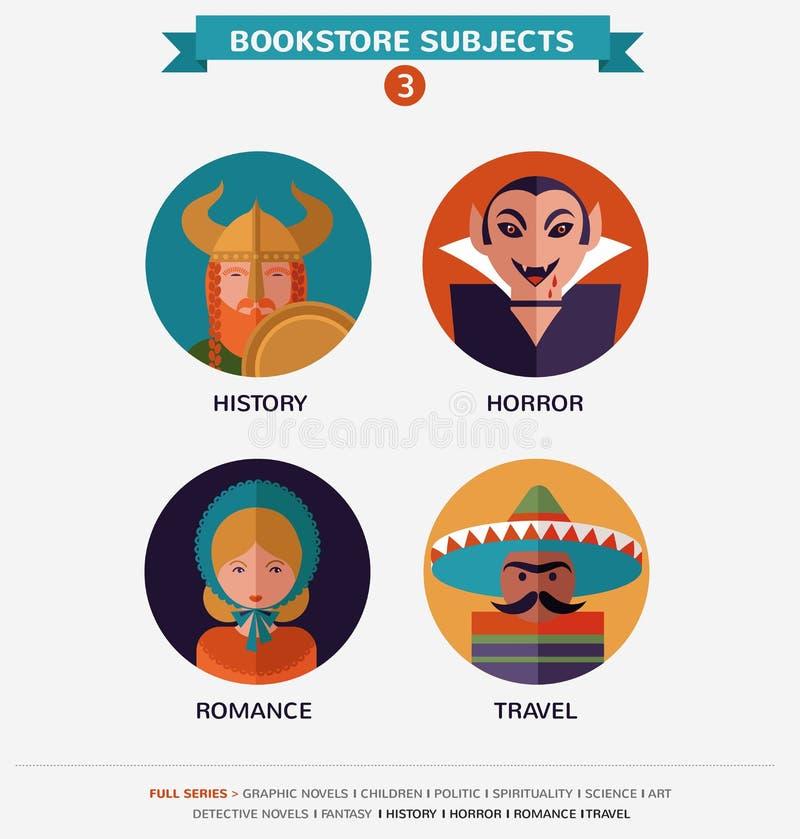Boekhandelonderwerpen, vlakke pictogrammen en karakters vector illustratie