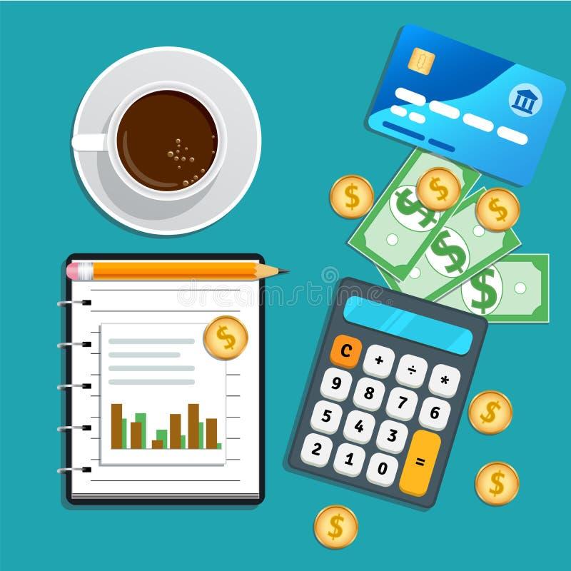 Boekhouding, boekhoudingsconcept Financiële controle, risicobeheer, gegevensanalyse, marketing onderzoek stock illustratie