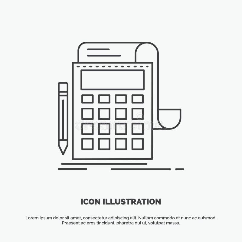 Boekhouding, controle, bankwezen, berekening, calculatorpictogram Lijn vector grijs symbool voor UI en UX, website of mobiele toe royalty-vrije illustratie