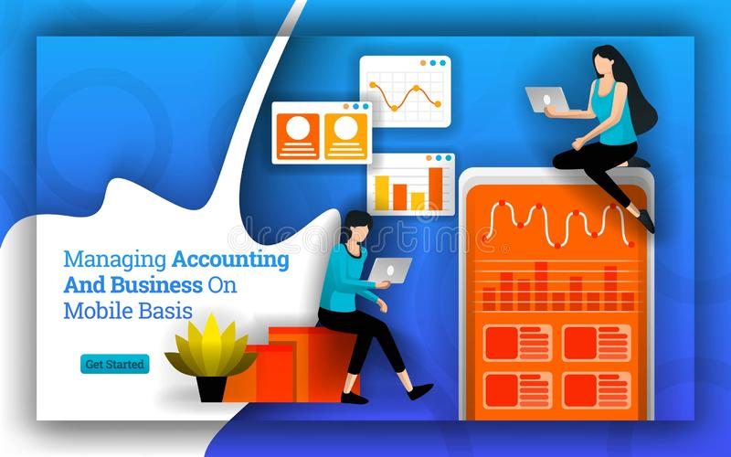 Boekhoudingsstatistieken die aan het beheren van boekhouding en Zaken op Mobiele basis worden vereenvoudigd de boekhoudingssoftwa stock illustratie