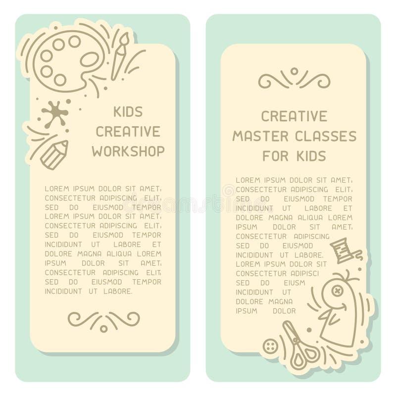 Boekjesontwerp met informatie over jonge geitjes creatief centrum vector illustratie