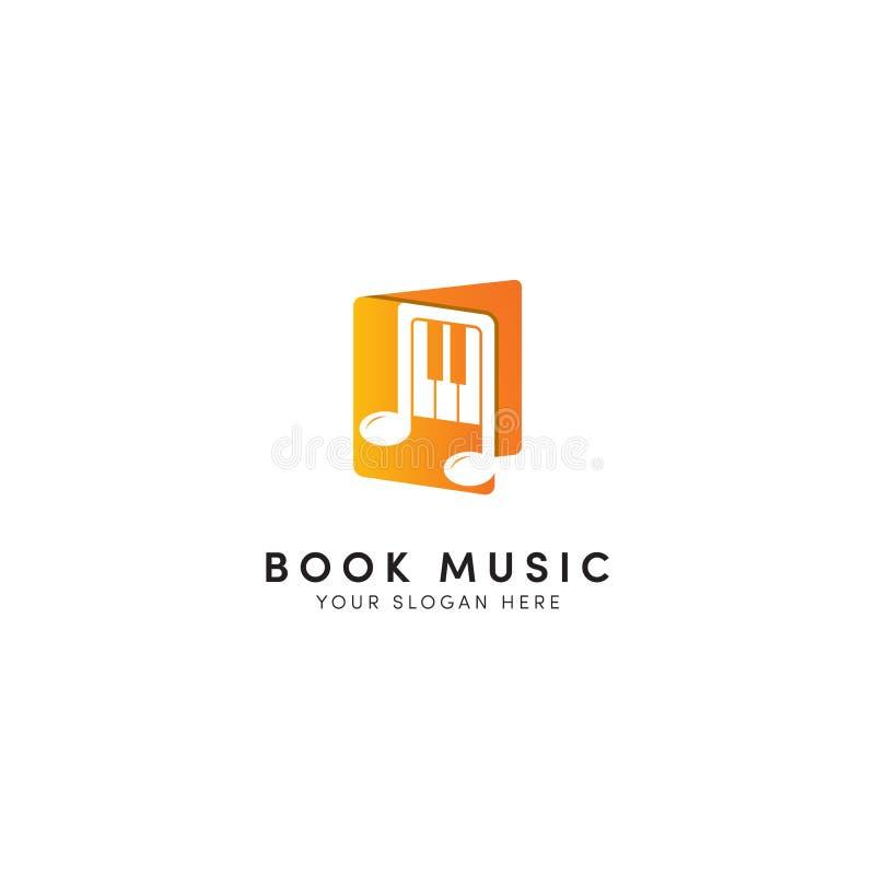 Boekmuziek en Nota Logo Design royalty-vrije illustratie