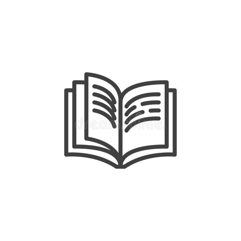 Boekpagina's met het pictogram van de tekstlijn royalty-vrije illustratie