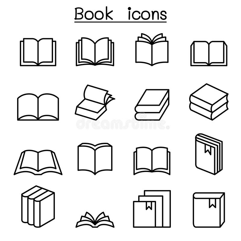 Boekpictogram in dunne lijnstijl die wordt geplaatst vector illustratie