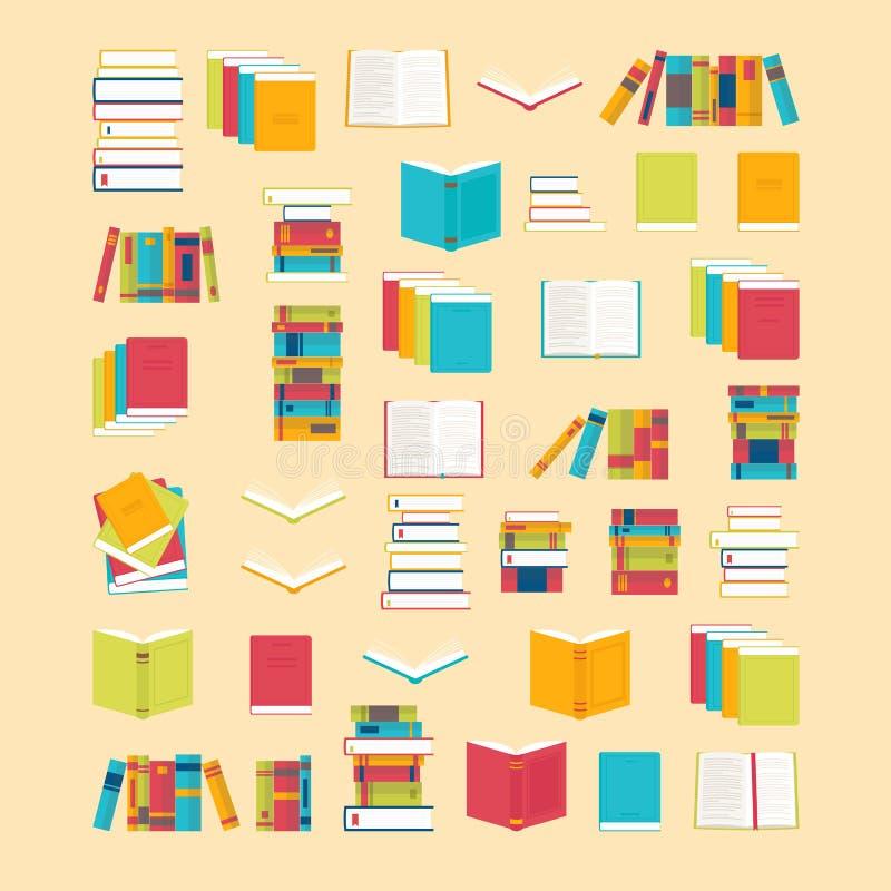 Boekpictogrammen in vlakke stijl voor uw ontwerp worden geplaatst dat De achtergrond van schoolboeken Bibliotheek, boekhandel Het vector illustratie