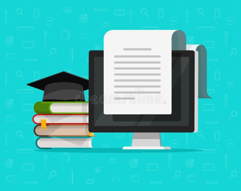 Boekt dichtbij computer vectorillustratie, het vlakke concept van de beeldverhaalstudie en tekstdocument op PC-het scherm, concep royalty-vrije illustratie