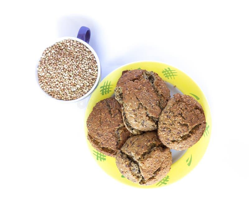 Boekweit en brood stock foto