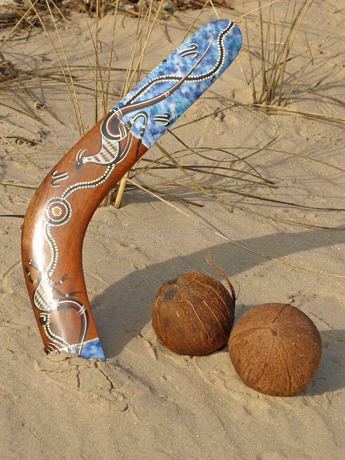 Boemerang en kokosnoten. royalty-vrije stock afbeeldingen