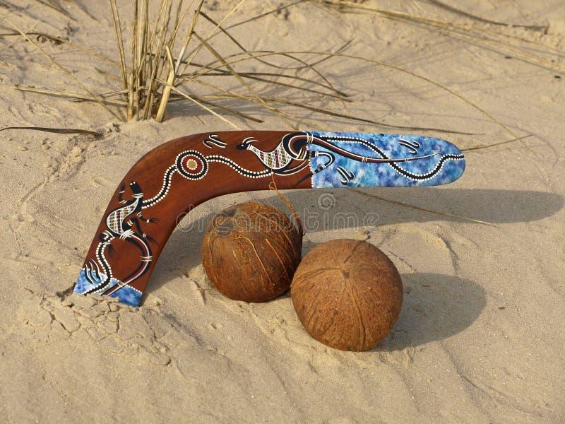Boemerang en kokosnoten. royalty-vrije stock foto