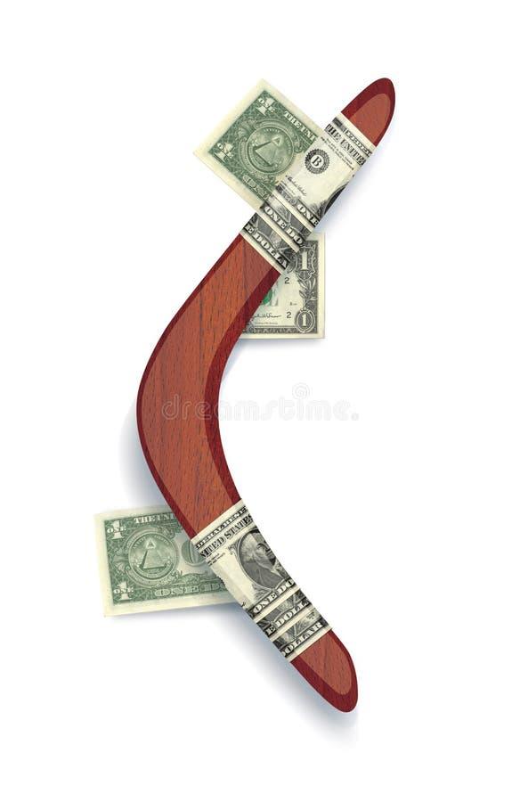 Boemerang van mahonie met applique van dollarrekeningen 3D illustratie, die op witte achtergrond wordt geïsoleerd royalty-vrije illustratie