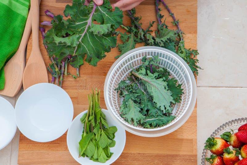 Boerenkool en van de kruidenveganist organische groenten stock foto
