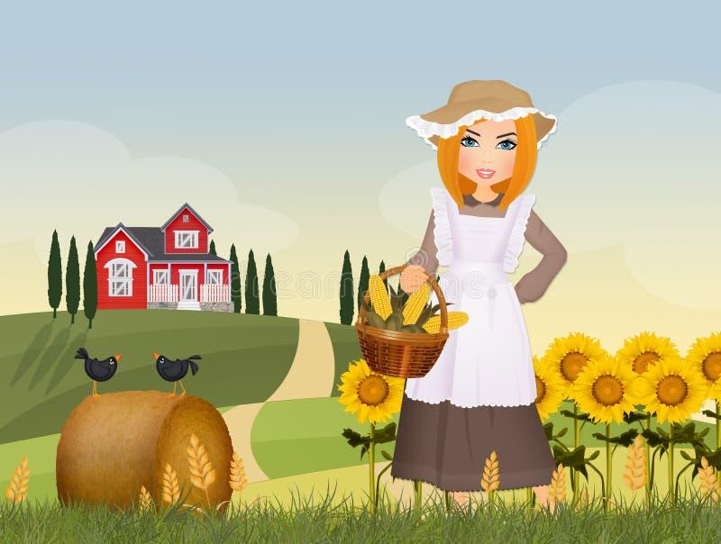 Boermeisje in het platteland stock illustratie