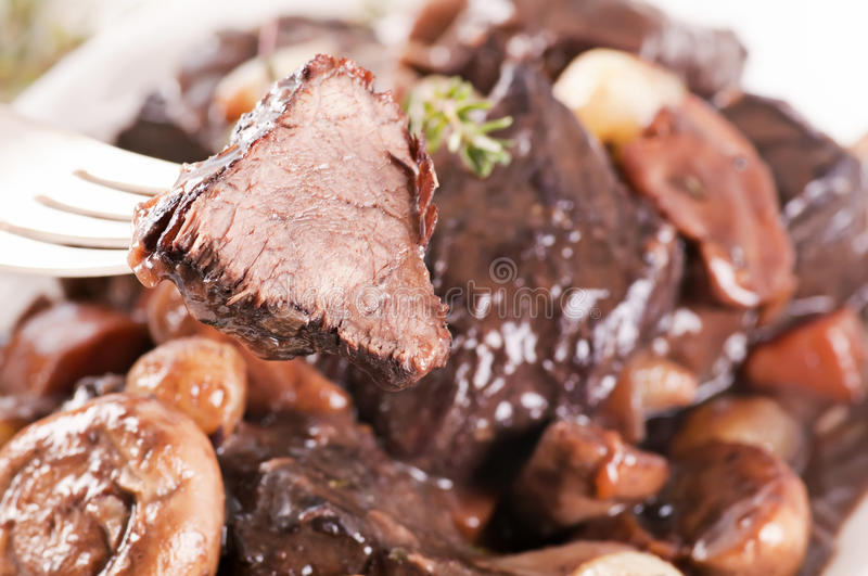 Boeuf Bourguignon. Stew with vegetable royalty free stock image
